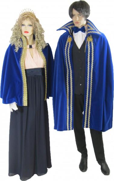 Prinzencape mit Samt blau