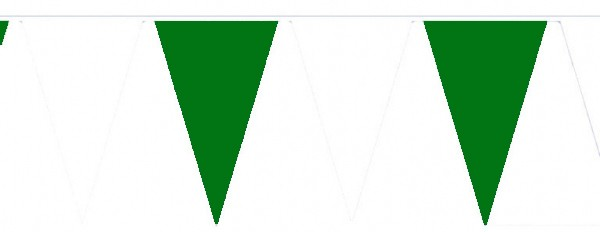 Wimpelketten, Polyester-Fahnentuch, grün-weiß