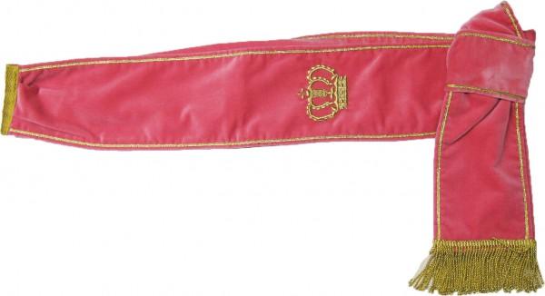 Samtschärpe, rosa, mit goldener Krone