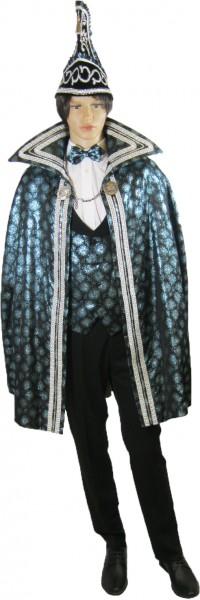 Prinzenkleidung Brokat schwarz-türkis