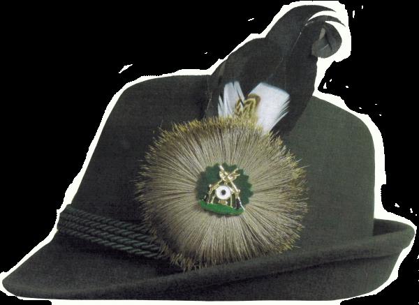 Schützenhut, Wollfilz, mit 4-facher Kordel, forst grün