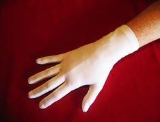 """Damen Stretchsatinhandschuhe, 2"""", weiß"""