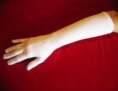 """Damen Stretchsatinhandschuhe, 8"""", weiß"""