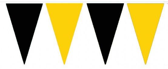 Wimpelketten, Polyester-Fahnentuch, schwarz-gelb