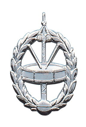 Metallabzeichen Spielmannszug, massiv gegossen